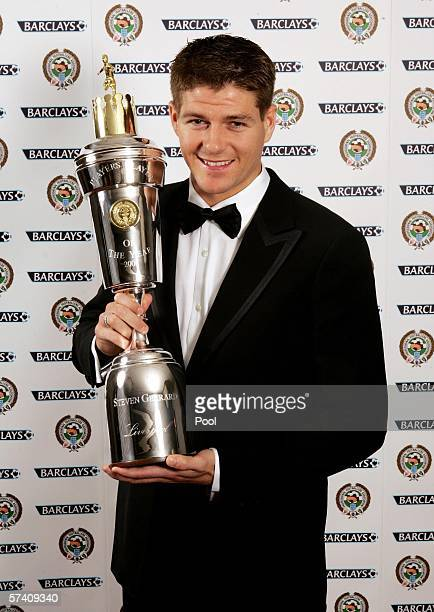 Liverpool's Steven Gerrard poses with the PFA Player of the Year Award at the Grosvenor House Hotel on April 23 2006 in London England