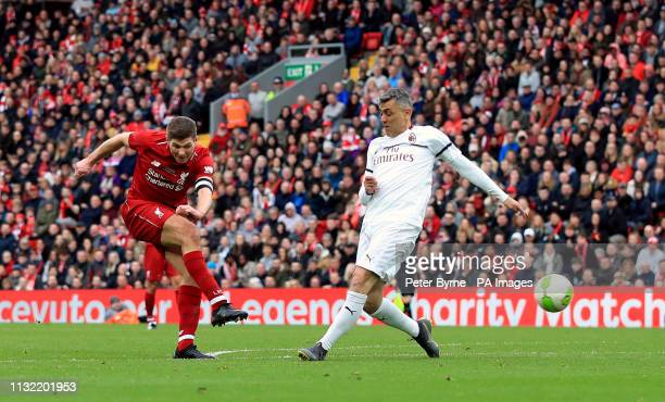 Liverpool's Steven Gerrard scores his side's third goal of the game during the Legends match at Anfield Stadium Liverpool