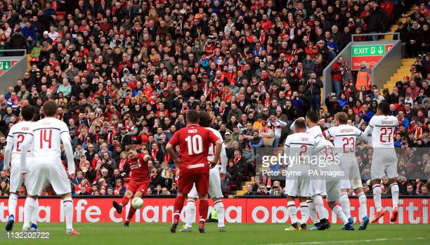 Liverpool's Steven Gerrard shoots direct from a free kick during the Legends match at Anfield Stadium Liverpool