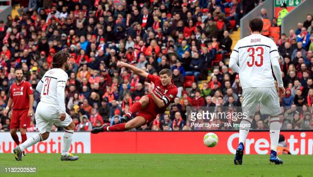 Liverpool's Steven Gerrard shoots during the Legends match at Anfield Stadium Liverpool