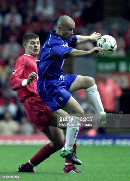 Liverpool's Steven Gerrard tussles for the ball with Birmingham City's Paul Devlin during the Barclaycard Premiership game at Anfield Liverpool THIS...