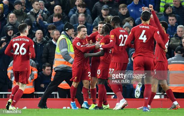 Liverpool's Swiss midfielder Xherdan Shaqiri celebrates scoring his team's second goal during the English Premier League football match between...