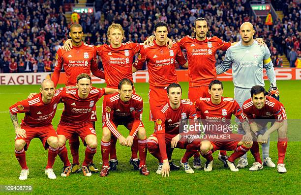 Liverpool's team pose for photographers before the second leg of the Europa League against Sparta Prague round of 32 at Anfield Stadium Liverpool on...