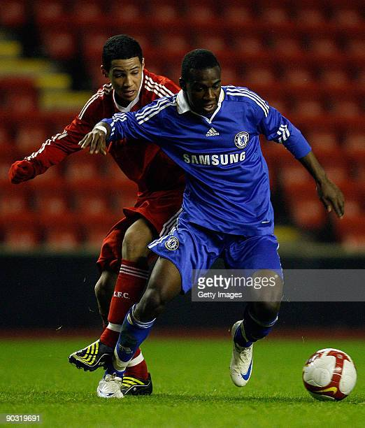Liverpool's Thomas Ince tackles Chelsea's Gael Kakuta during the FA Youth Cup match between Liverpool Youth and Chelsea Youth at Anfield Stadium on...