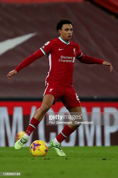 Liverpool's Trent Alexander-Arnold during the Premier League match between Liverpool and Manchester United at Anfield on January 17, 2021 in...