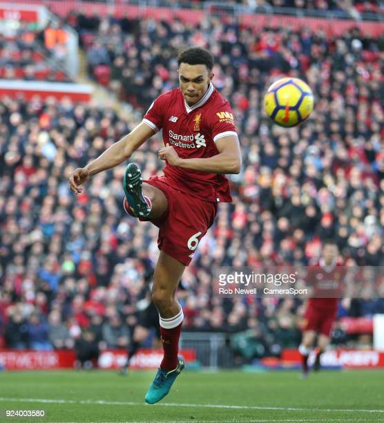 Liverpool's Trent AlexanderArnold during the Premier League match between Liverpool and West Ham United at Anfield on February 24 2018 in Liverpool...