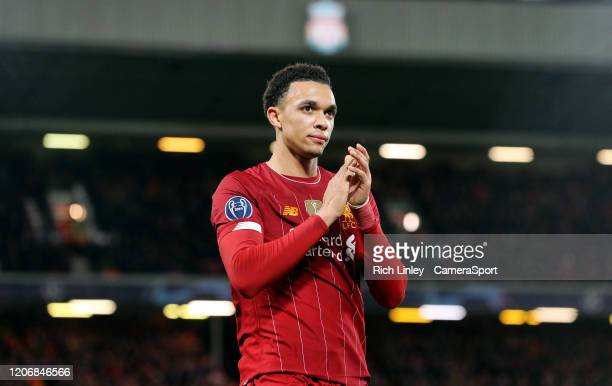 Liverpool's Trent AlexanderArnold during the UEFA Champions League round of 16 second leg match between Liverpool FC and Atletico Madrid at Anfield...