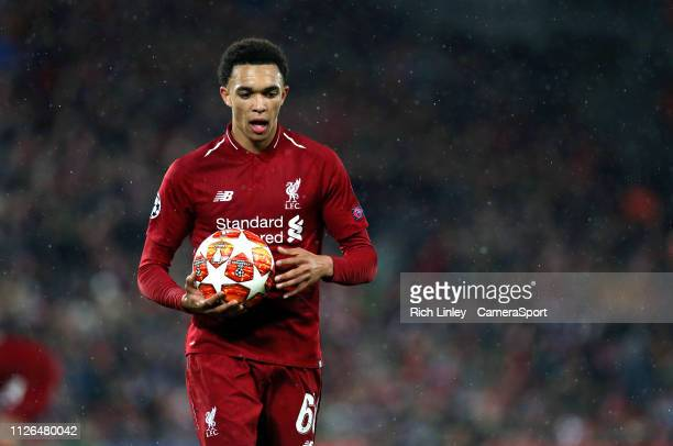 Liverpool's Trent AlexanderArnold prepares to take a corner kick during the UEFA Champions League Round of 16 First Leg match between Liverpool and...