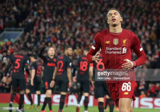 Liverpool's Trent AlexanderArnold reacts during the UEFA Champions League round of 16 second leg match between Liverpool FC and Atletico Madrid at...