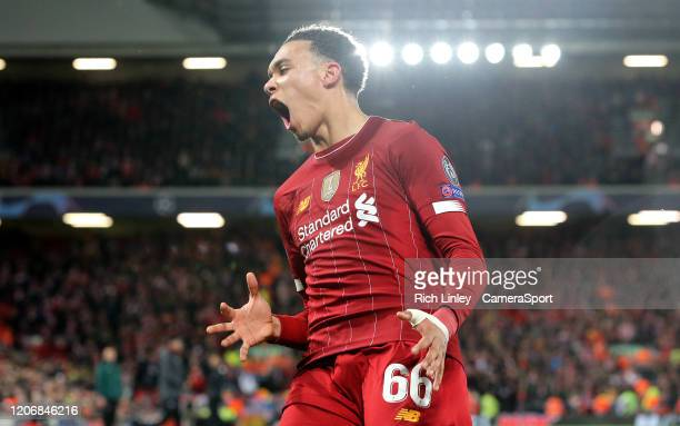 Liverpool's Trent AlexanderArnold reacts in frustration during the UEFA Champions League round of 16 second leg match between Liverpool FC and...