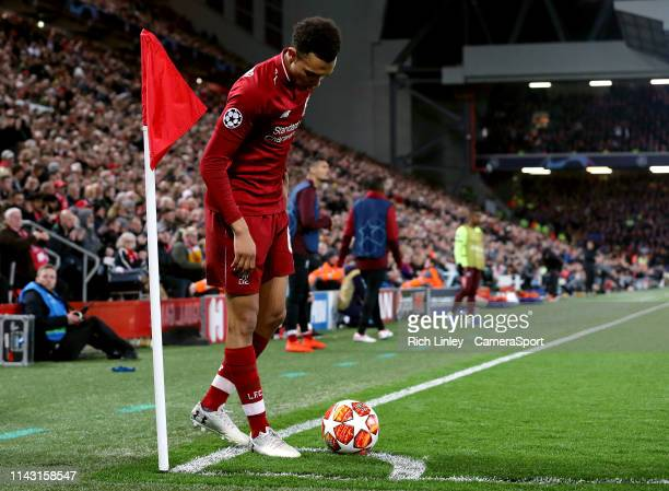 Liverpool's Trent AlexanderArnold sets up the corner kick from which Divock Origi scored the winning goal during the UEFA Champions League Semi Final...