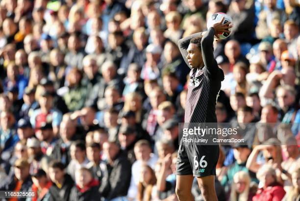 Liverpool's Trent AlexanderArnold takes a throwin during the Premier League match between Burnley FC and Liverpool FC at Turf Moor on August 31 2019...