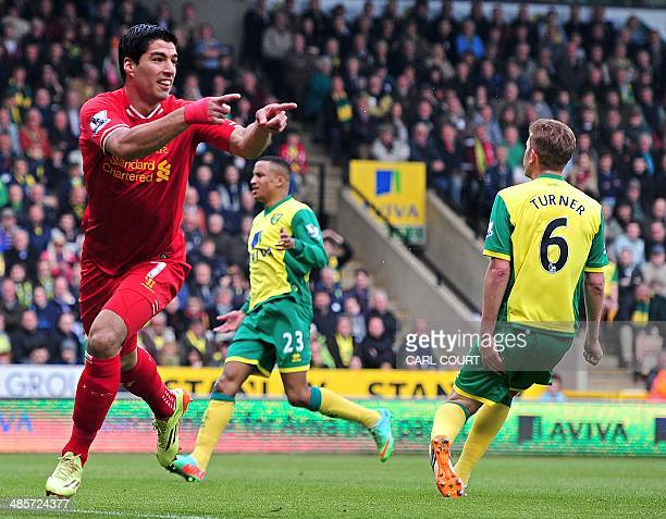 Liverpool's Uruguayan striker Luis Suarez celebrates scoring a goal during the English Premier League football match between Norwich City and...