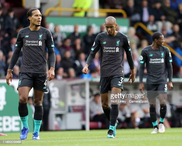 Liverpool's Virgil van Dijk and Fabinho during the Premier League match between Burnley FC and Liverpool FC at Turf Moor on August 31 2019 in Burnley...