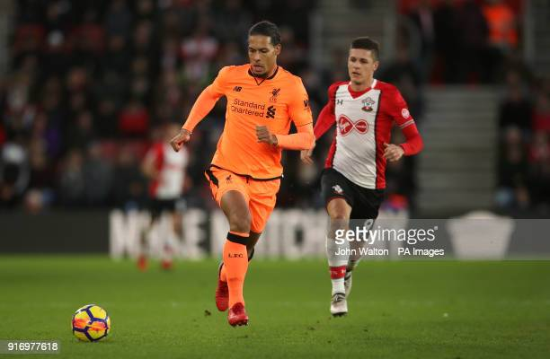 Liverpool's Virgil van Dijk and Southampton's Guido Carrillo during the Premier League match at St Mary's Stadium Southampton