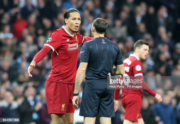 Liverpool's Virgil van Dijk appeals a decision with Referee Antonio Miguel Mateu Lahoz during the UEFA Champions League Quarter Final at the Etihad...
