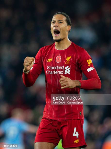 Liverpool's Virgil van Dijk celebrates with the fans after the Premier League match between Liverpool FC and Manchester City at Anfield on November...