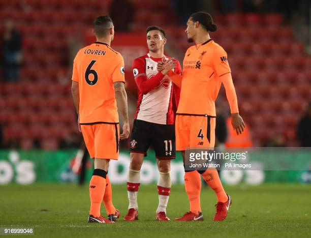 Liverpool's Virgil van Dijk Dejan Lovren and Southampton's Dusan Tadic after the final whistle during the Premier League match at St Mary's Stadium...