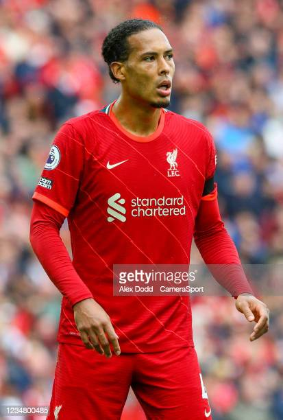 Liverpool's Virgil van Dijk during the Premier League match between Liverpool and Burnley at Anfield on August 21, 2021 in Liverpool, England.