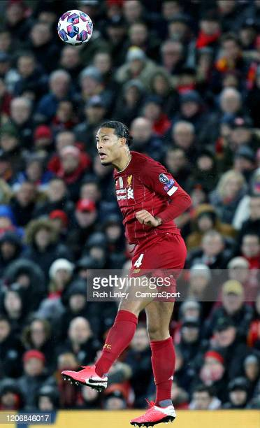 Liverpool's Virgil van Dijk during the UEFA Champions League round of 16 second leg match between Liverpool FC and Atletico Madrid at Anfield on...