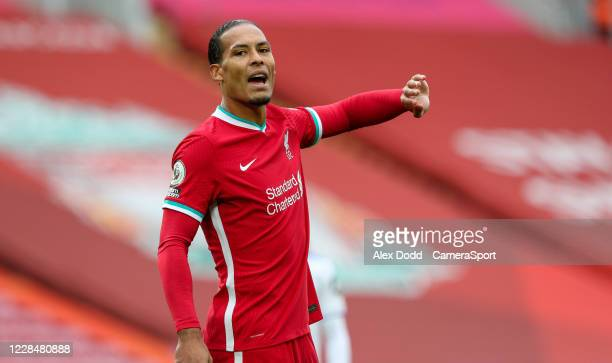 Liverpool's Virgil van Dijk gestures during the Premier League match between Liverpool and Leeds United at Anfield on September 12, 2020 in...