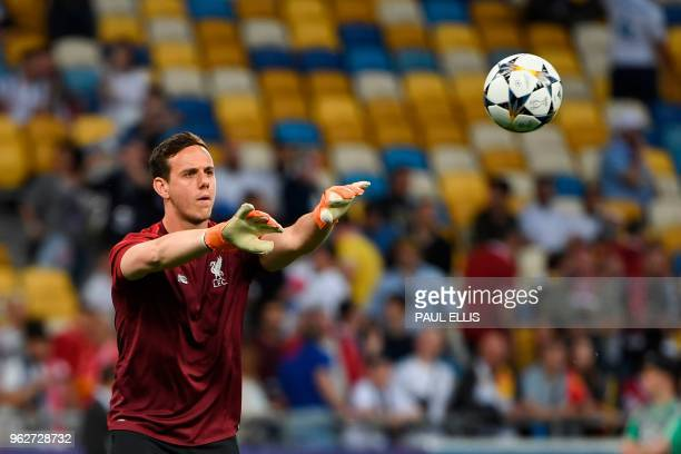 Liverpool's Welsh goalkeeper Danny Ward warms up before kick off of the UEFA Champions League final football match between Liverpool and Real Madrid...