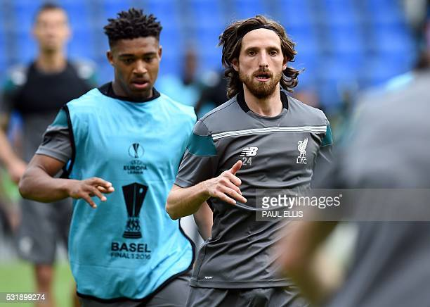 Liverpool's Welsh midfielder Joe Allen attends a training session at the St JakobPark stadium in Basel northern Switzerland on May 17 on the eve of...