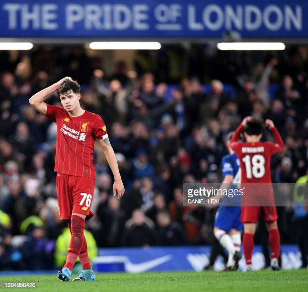 Liverpool's Welsh midfileder Neco Williams reacts after the English FA Cup fifth round football match between Chelsea and Liverpool at Stamford...
