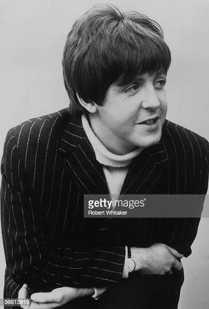 Liverpudlian pop star Paul McCartney of The Beatles during a break in the shooting of The Beatles' new film 'Help' 21st June 1965 He is wearing a...