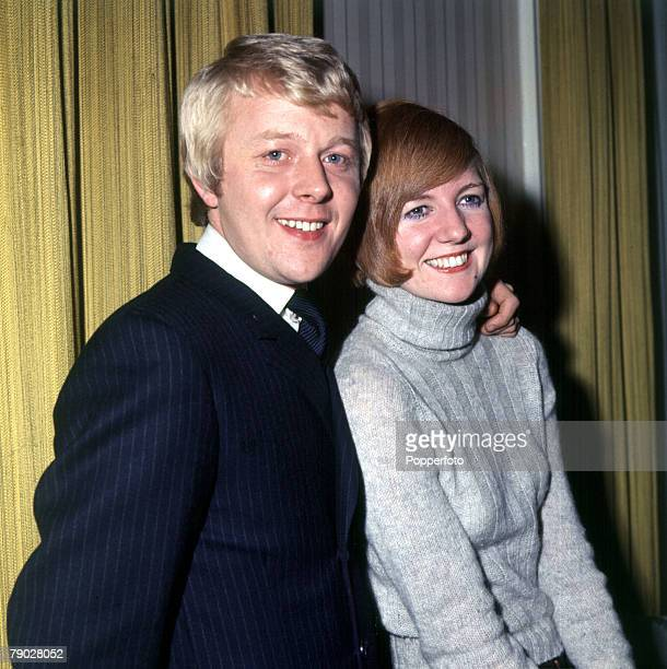 Liverpudlian singer and entertainer Cilla Black is pictured with her husband Bobby Willis in 1969