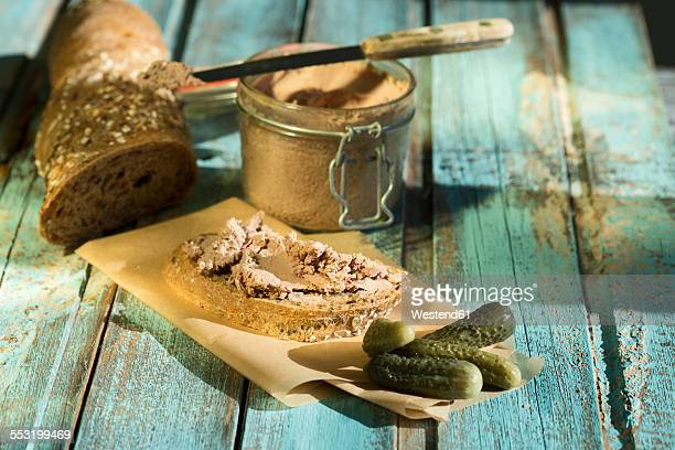Liverwurst spread with pickled cucumber