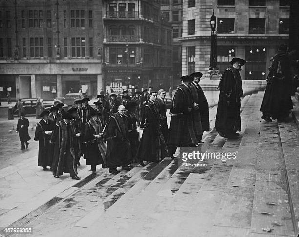 Liverymen of the Worshipful Company of Stationers on their annual Ash Wednesday parade to St Paul's Cathedral London 22nd February 1939 After the...