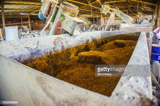 Livestock feed is churned in a mixing machine on the Ehlerskroon farm outside Delmas in the Mpumalanga province South Africa on Thursday Sept 13 2018...