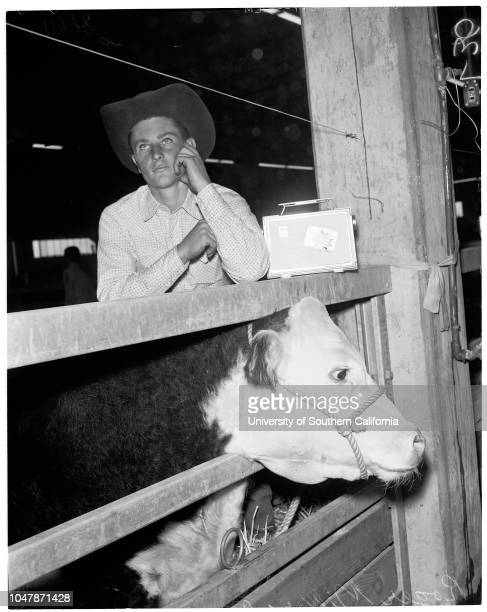 Livestock show, 23 November 1956. Russell Mitchell -- 16 years;Daris Aubrey -- 17 years;Forrest Berry;Governor Goodwin Knight;Al Snider;Roger Miller...