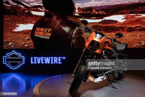 A 'Livewire' motorcycle first electric motorcycle manufactured by American company HarleyDavidson Inc is pictured during the 76th edition of EICMA on...