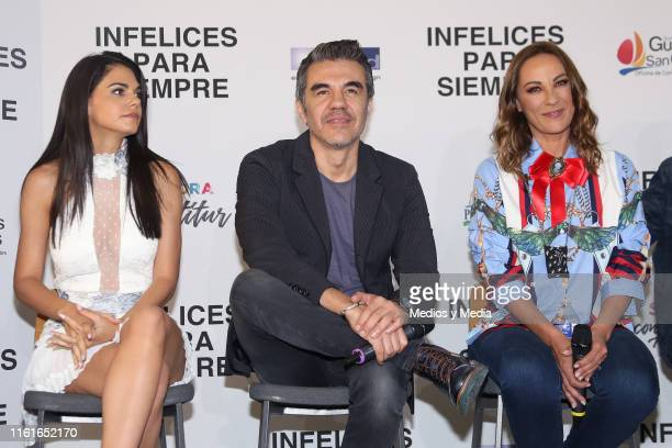 Livia Brito Adrián Uribe and Consuelo Duval attend the first day of filming of 'Infelices Para Siempre' at Videocine on July 12 2019 in Mexico City...