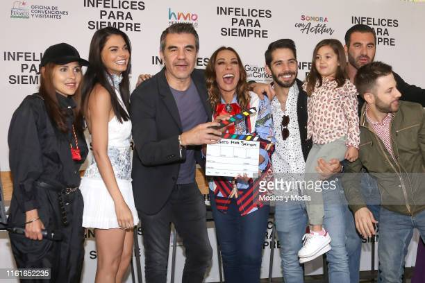Livia Brito Adrián Uribe Consuelo Duval Ruy Senderos Niko Antonyan and Luis Arrieta pose for photos during the first day of filming of 'Infelices...