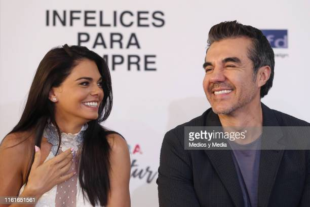 Livia Brito and Adrián Uribe laugh together during the first day of filming of 'Infelices Para Siempre' at Videocine on July 12 2019 in Mexico City...