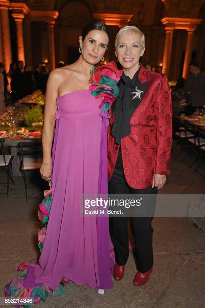 Livia Firth and Annie Lennox attend a private dinner hosted by Livia Firth following the Green Carpet Fashion Awards Italia at Palazzo Marino on...