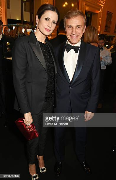 Livia Firth and Christoph Waltz attends as Chopard presents The Garden Of Kalahari collection at Theatre du Chatalet on January 21 2017 in Paris...