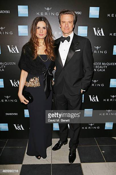 Livia Firth and Colin Firth arrive at the Alexander McQueen Savage Beauty Fashion Gala at the VA presented by American Express and Kering on March 12...