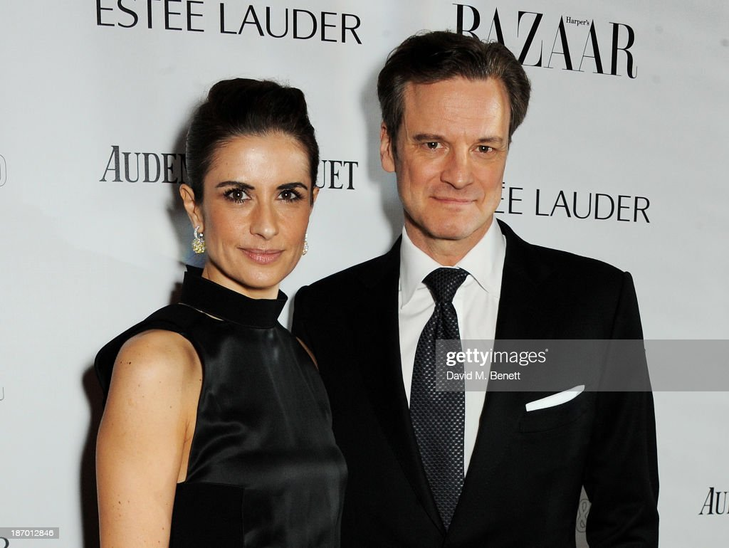Livia Firth (L) and Colin Firth arrive at the Harper's Bazaar Women of the Year awards at Claridge's Hotel on November 5, 2013 in London, England.