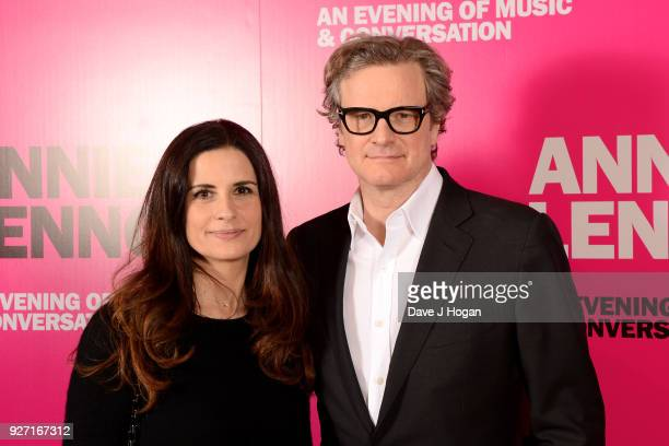 Livia Firth and Colin Firth attend 'Annie Lennox An Evening of Music and Conversation' at Sadler's Wells Theatre on March 4 2018 in London England