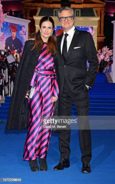 """Livia Firth and Colin Firth attend the European Premiere of """"Mary Poppins Returns"""" at Royal Albert Hall on December 12, 2018 in London, England."""