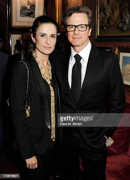 Livia Firth and Colin Firth attend the TOM FORD Mens Grooming Collection launch at Mark's Club on June 18 2013 in London England