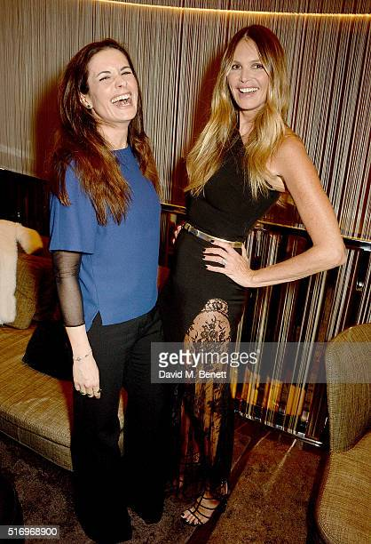 Livia Firth and Elle Macpherson attend the BFC/Vogue Designer Fashion Fund 2016 winners announcement at the Bulgari Hotel on March 22 2016 in London...