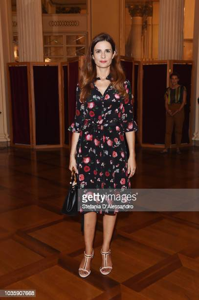 Livia Firth attends Green Carpet Fashion Awards press conference during Milan Fashion Week Spring/Summer 2019 at Teatro Alla Scala on September 19...