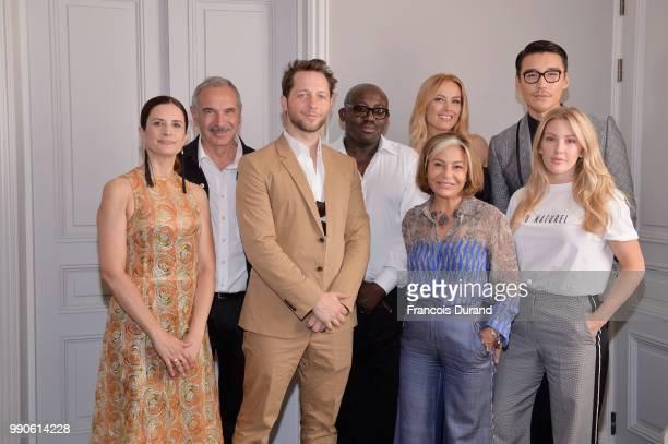 Livia Firth, Carlo Capasa, Derek Blasberg, Edward Enninful, Petra Nemcova, Desiree Bollier, Hu Bing and Ellie Goulding attend the CNMI Green Carpet...