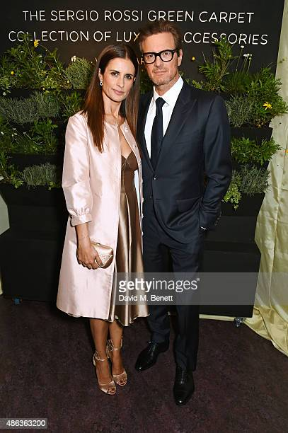 Livia Firth Creative Director of EcoAge and founder of the Green Carpet Challenge and Colin Firth attend the launch of the Sergio Rossi Green Carpet...