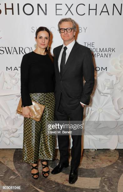 Livia Firth Founder and Creative Director of EcoAge and Colin Firth attend the VIP preview of the Commonwealth Fashion Exchange exhibition at the...